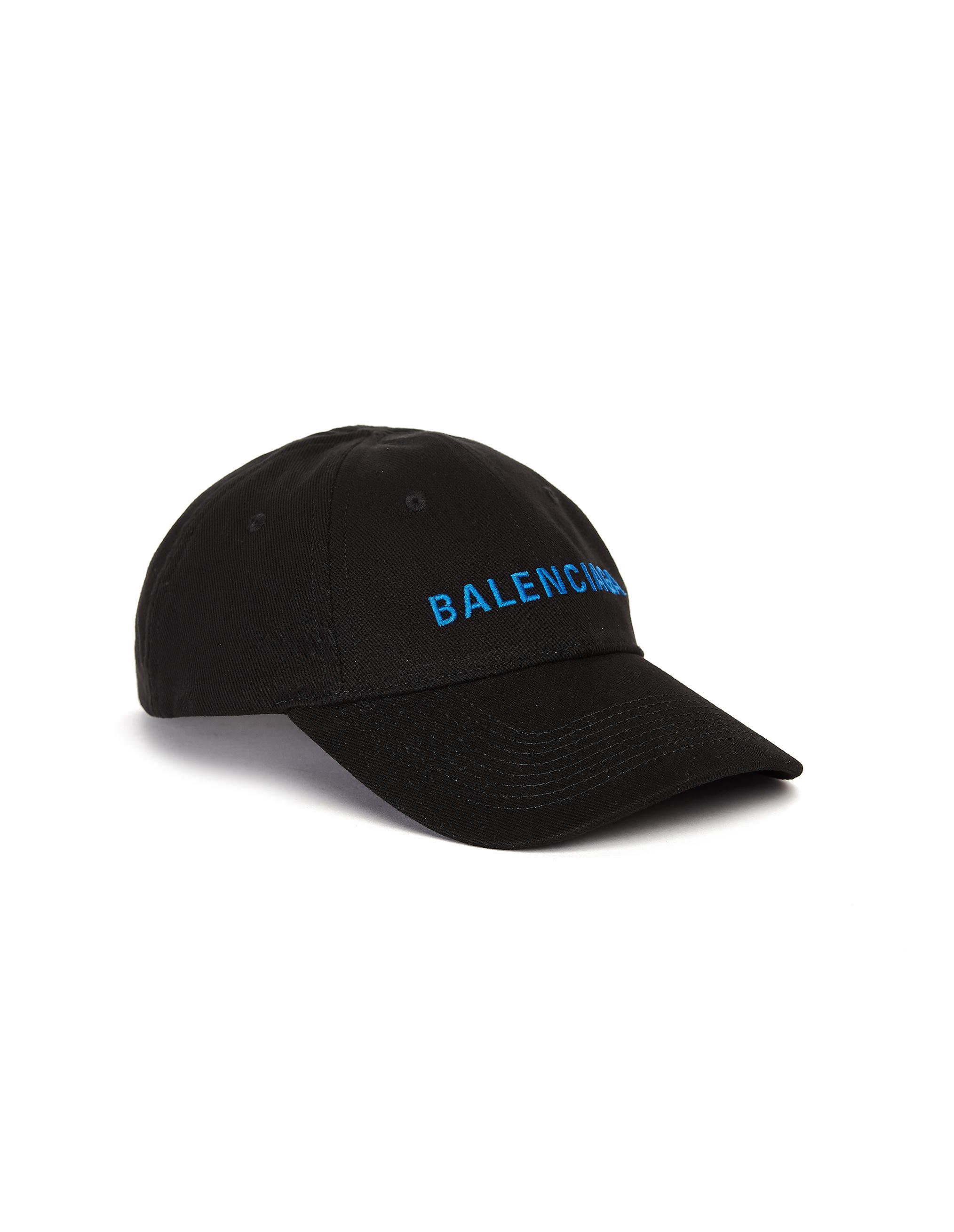 Balenciaga Black Cotton Embroidered Cap