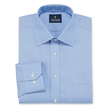 Stafford Executive Non-Iron Cotton Pinpoint Oxford Mens Spread Collar Long Sleeve Stretch Dress Shirt, 17 34-35, Blue