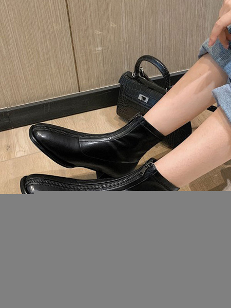 Milanoo Women Ankle Boots Deep Brown PU Leather Square Toe Flat Booties