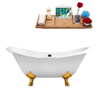 R5163GLD-ORB 61 Cast Iron Soaking Clawfoot Tub and Tray with External Drain - Glossy