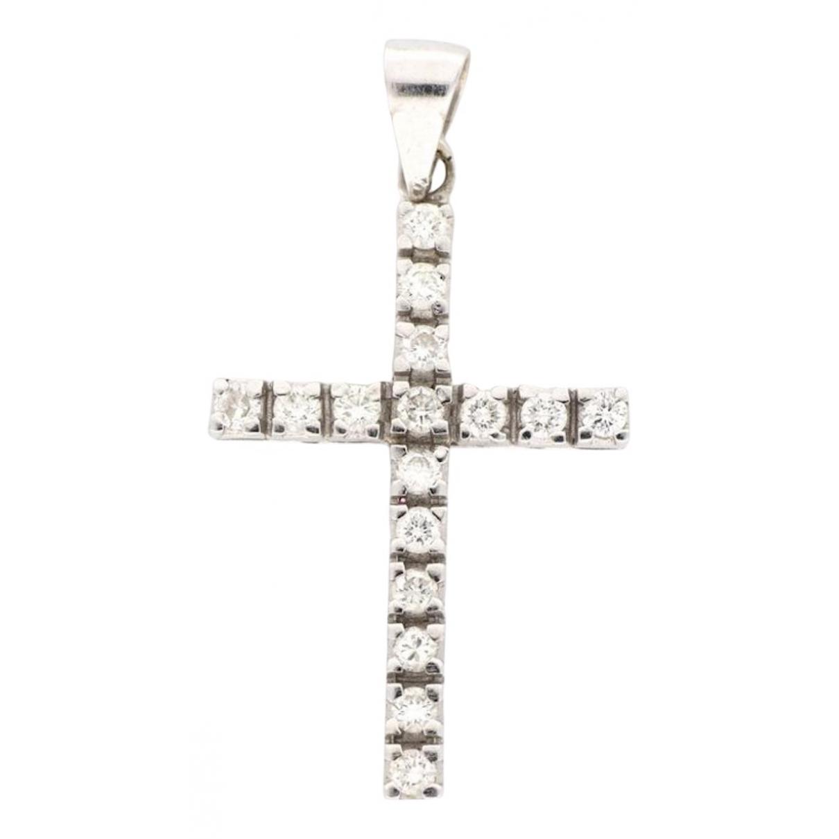 - Pendentif Croix pour femme en or blanc - blanc