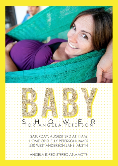 Baby Shower Invitations 5x7 Cards, Premium Cardstock 120lb with Rounded Corners, Card & Stationery -Good News Glitter Yellow