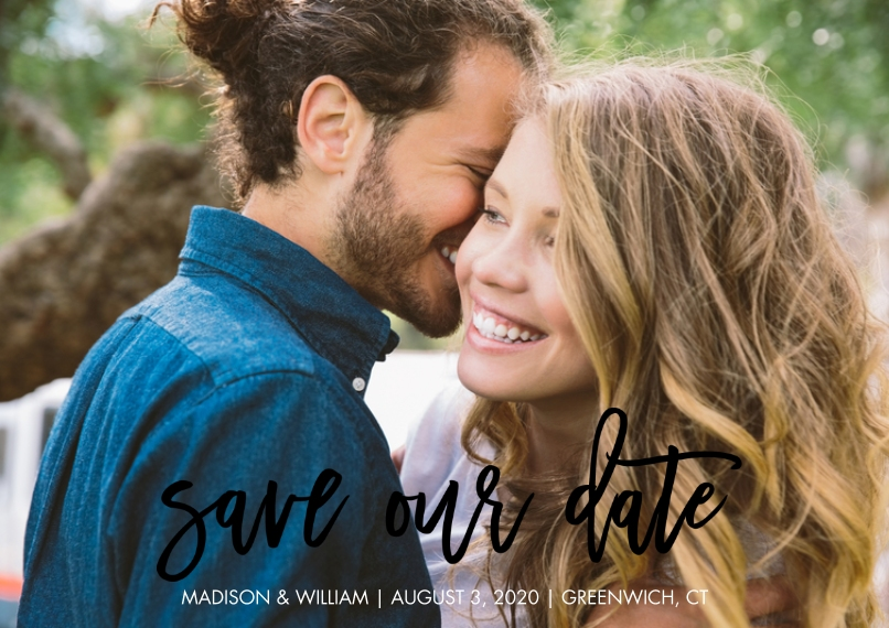 Save the Date Flat Matte Photo Paper Cards with Envelopes, 5x7, Card & Stationery -Save the Date Script Simple