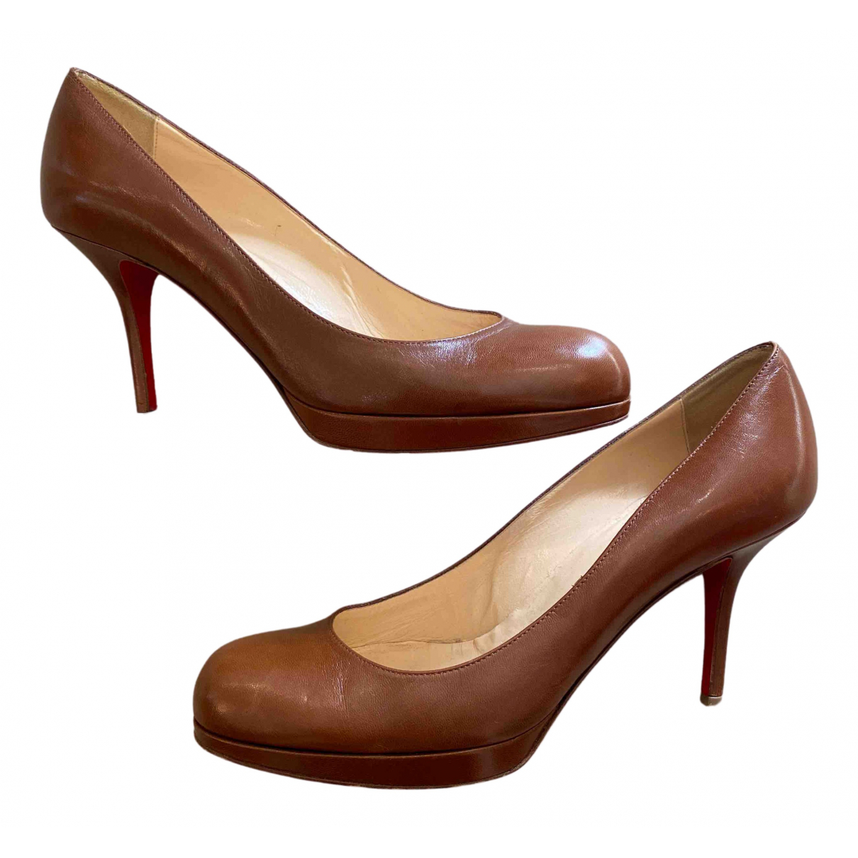 Christian Louboutin N Brown Leather Heels for Women 39 EU