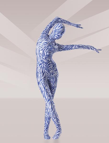 Milanoo Disfraz Halloween Zentai de elastano de marca LYCRA de estampado aminal de color azul Halloween