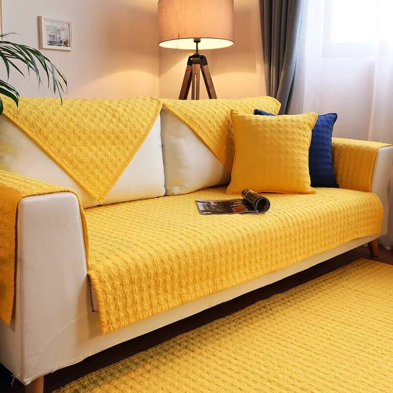 Pure Color Plain Simple Style Cotton Sofa Covers