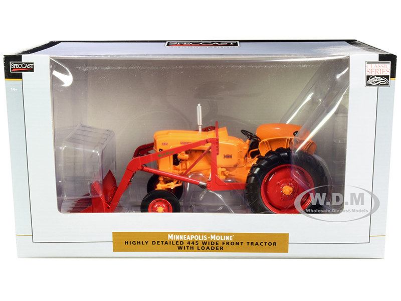 Minneapolis Moline 445 Wide Front Tractor with Loader Orange and Red