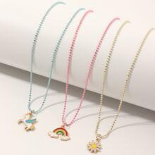 3 piezas collar de niñitas con arcoiris