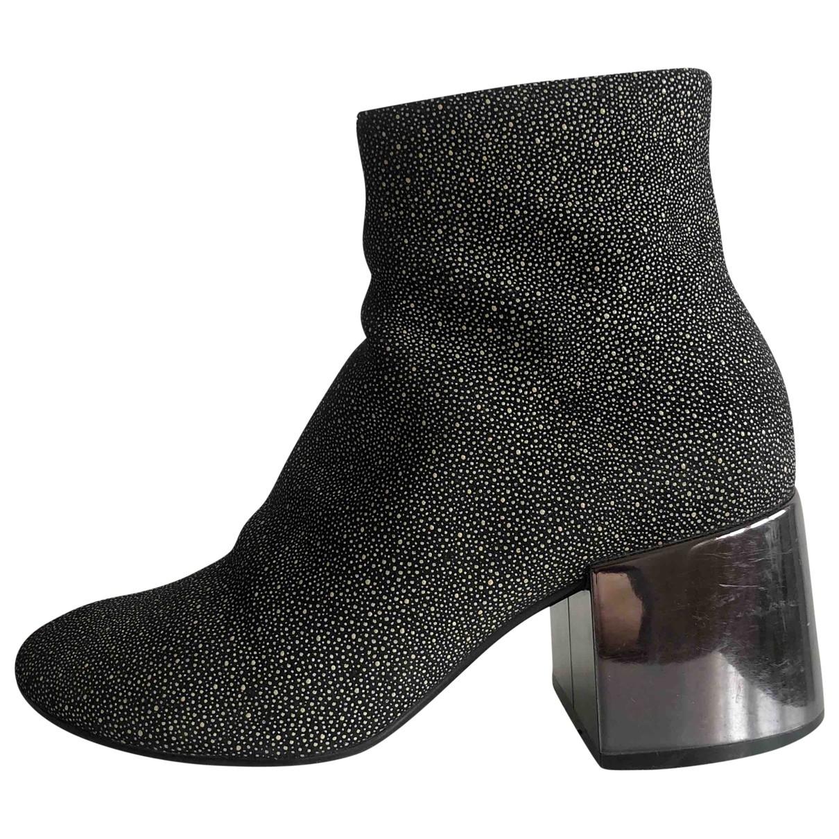 Mm6 - Boots   pour femme en cuir - noir