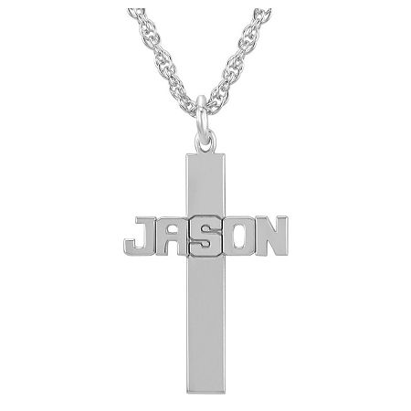 Personalized Sterling Silver Cross Pendant Necklace, One Size , White