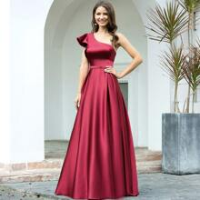 vestido formal de saten ribete fruncido con un hombro