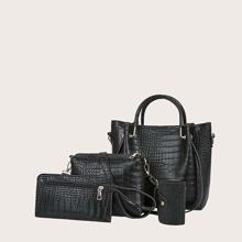4pcs Croc Embossed Satchel Bag Set