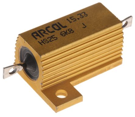Arcol HS25 Series Aluminium Housed Axial Wire Wound Panel Mount Resistor, 6.8kΩ ±5% 25W