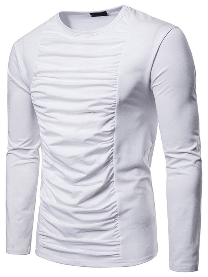 Ericdress Plain Pleated Round Neck Mens Casual T-shirt