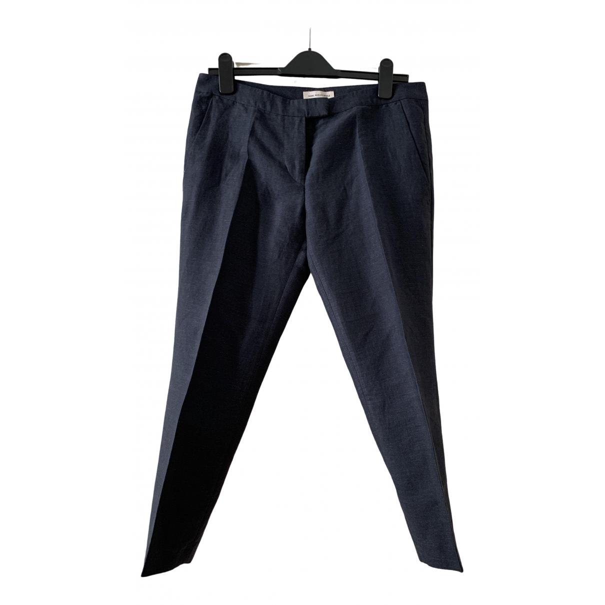 Isabel Marant Etoile \N Blue Linen Trousers for Women 40 FR