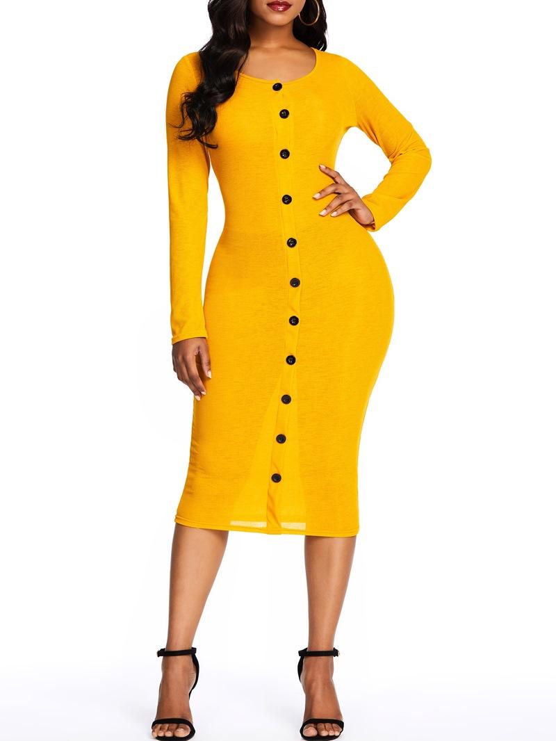 Ericdress Long Sleeve Round Neck Button Plain Bodycon Dress