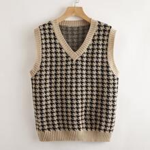 Houndstooth Pattern Sweater Vest