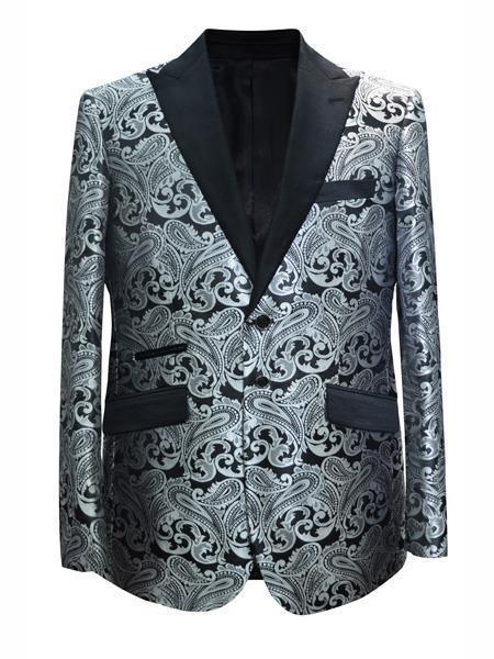 Cheap Mens Printed Flower Jacket Prom modern Tux Grey ~ Gray Silver Black / White