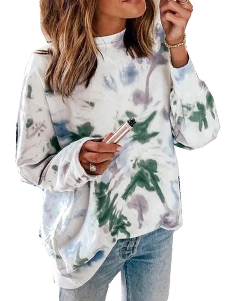 Tie-dyed Print Long Sleeve O-neck Casual Sweatshirt For Women