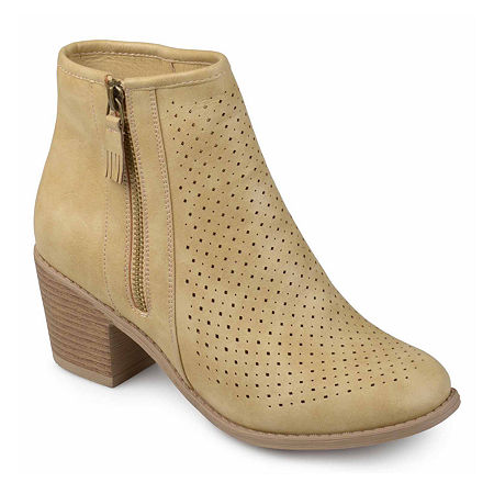 Journee Collection Womens Meleny Booties Stacked Heel, 8 Medium, Brown