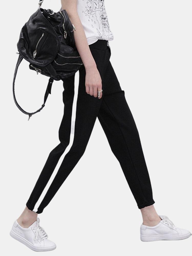 Drawstring Waist Solid Color Stripe Casual Harem Pants