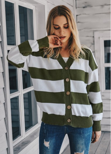 Long Sleeve Button Up Striped Cardigan - XL