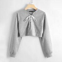 Lace Up Front Crop Sweatshirt