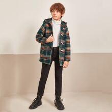 Boys Patch Pocket Tartan Duffle Coat