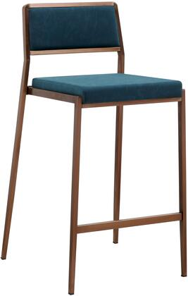 Clifton Collection BS1627P-TBLU Bar Stool with Low Backrest  Square Shaped Seat  Brushed Stainless Steel Legs  Footrest Support and Faux Leather