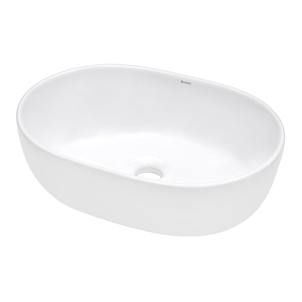 Ruvati 24 x 16 inch Bathroom Vessel Sink White Oval Above Vanity Countertop Porcelain Ceramic - RVB0424 (White)