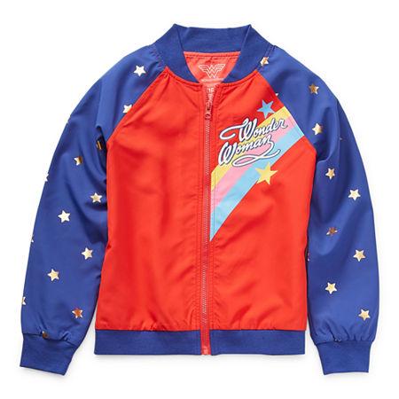 Little & Big Girls Wonder Woman Lightweight Bomber Jacket, Xx-small (4-5) , Red