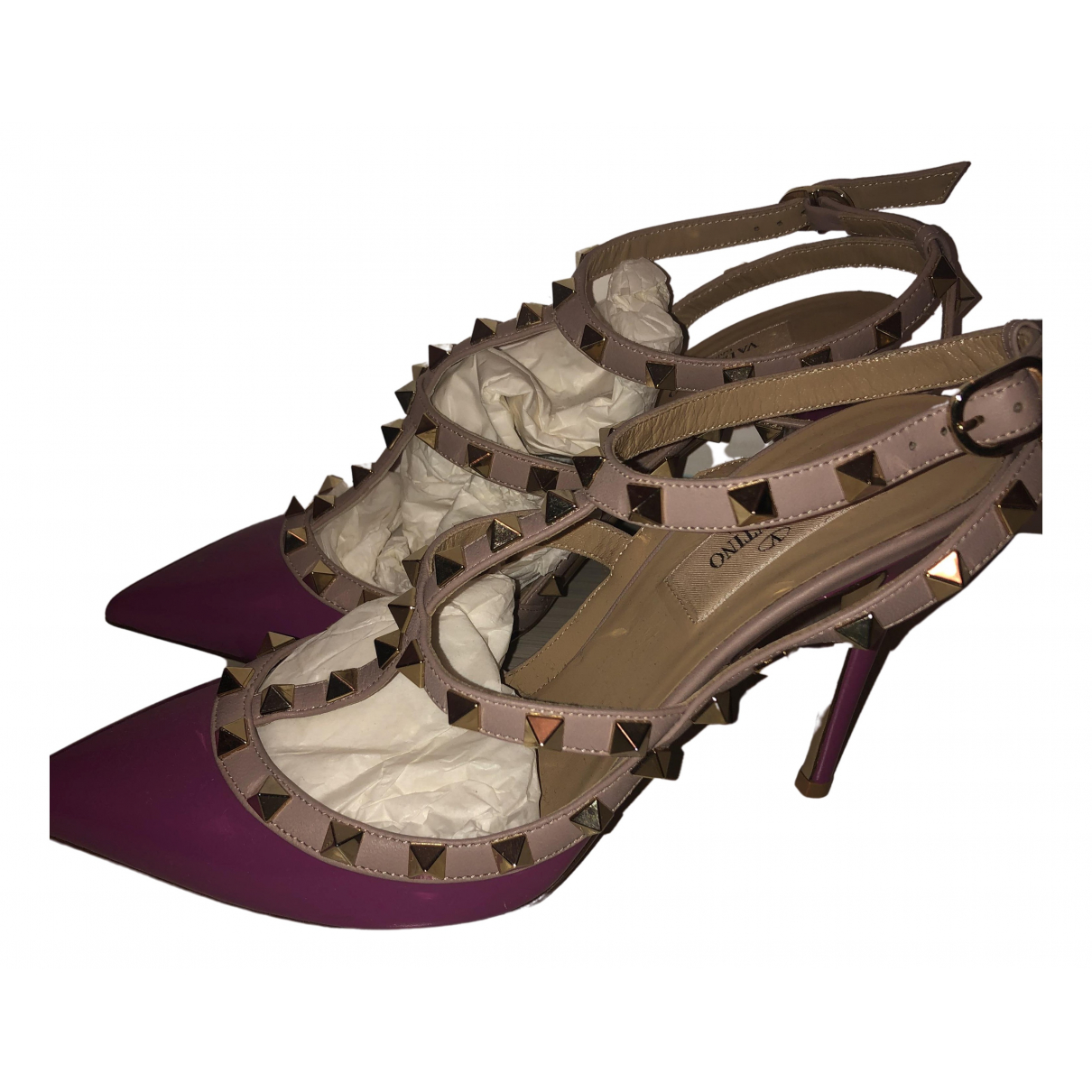 Valentino Garavani Rockstud Purple Leather Heels for Women 38 EU