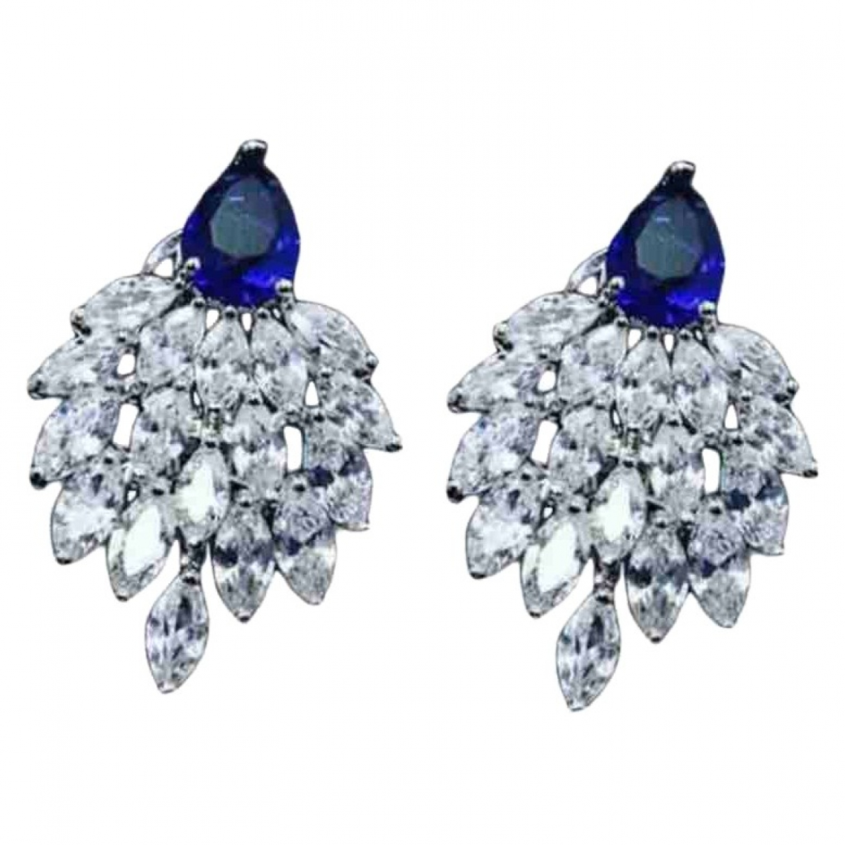 Non Signé / Unsigned Saphir Silver White gold Earrings for Women \N
