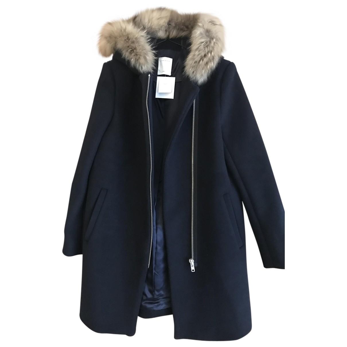 Sandro Fall Winter 2019 Blue Wool coat for Women 40 FR