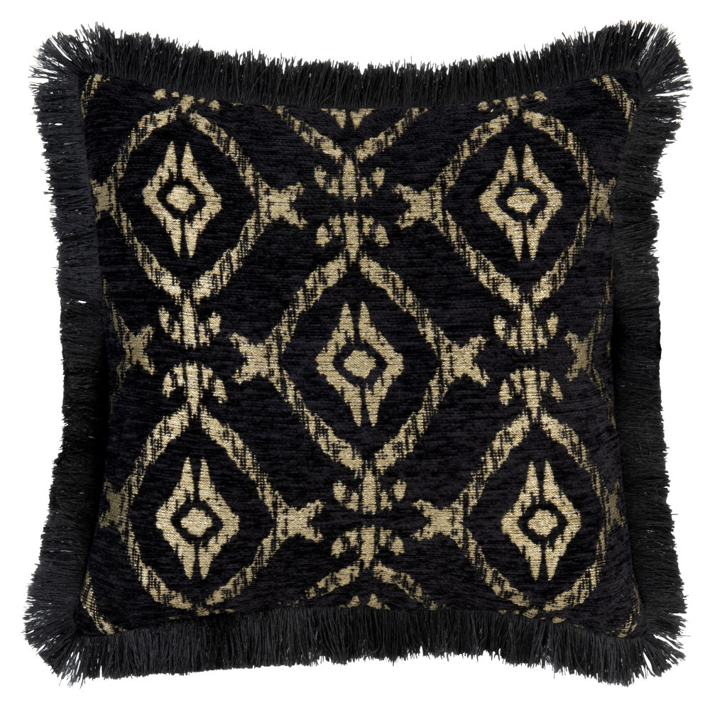 Kissenbezug aus Baumwolle, schwarz, mit goldfarbenen Motiven 40x40