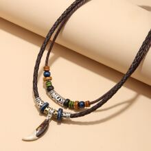 Men Bead Layered Necklace