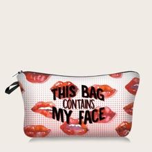 Makeup Tasche mit Lippen Muster