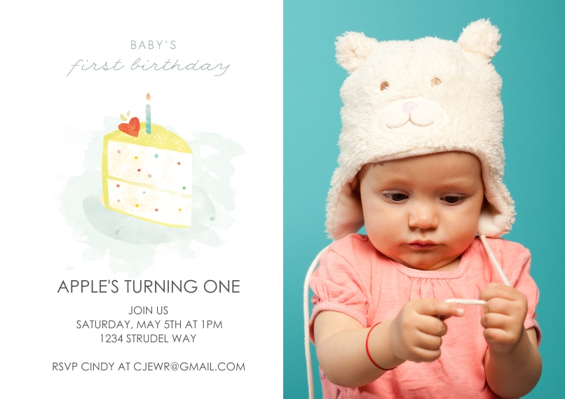 Birthday Party Invites 5x7 Cards, Standard Cardstock 85lb, Card & Stationery -First Birthday Cake