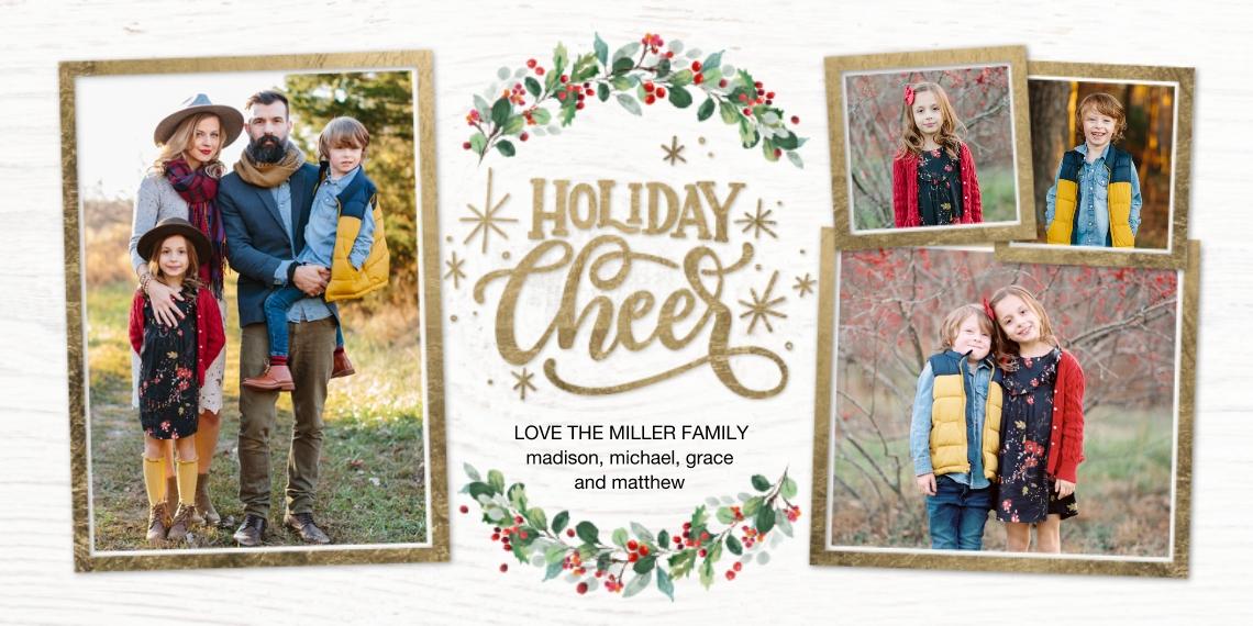 Holiday Photo Cards Flat Glossy Photo Paper Cards with Envelopes, 4x8, Card & Stationery -Holiday Cheer Garland Memories by Tumbalina