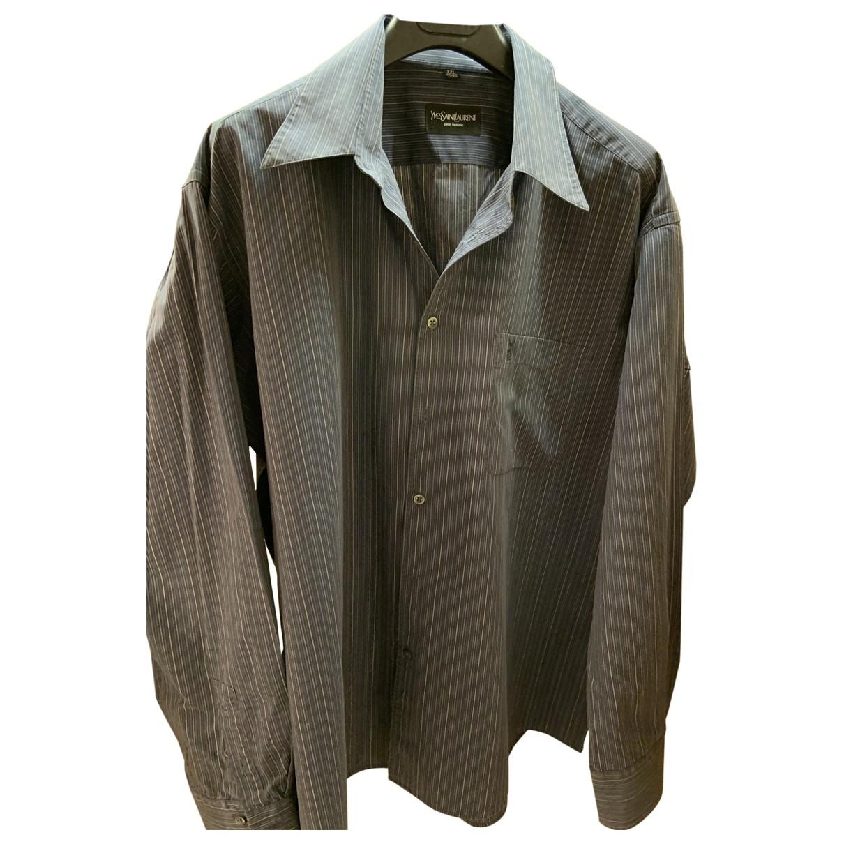 Yves Saint Laurent \N Navy Cotton Shirts for Men XXL International