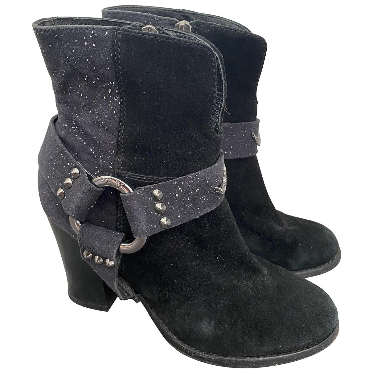 Zadig & Voltaire - Boots   pour femme en suede - noir