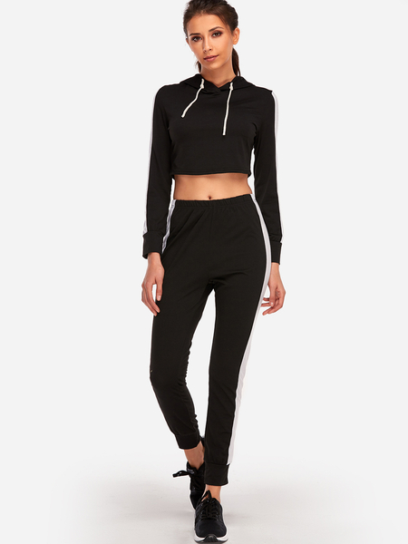 Yoins Black Hooded Stripe Fashion 2-piece Sport Tracksuit