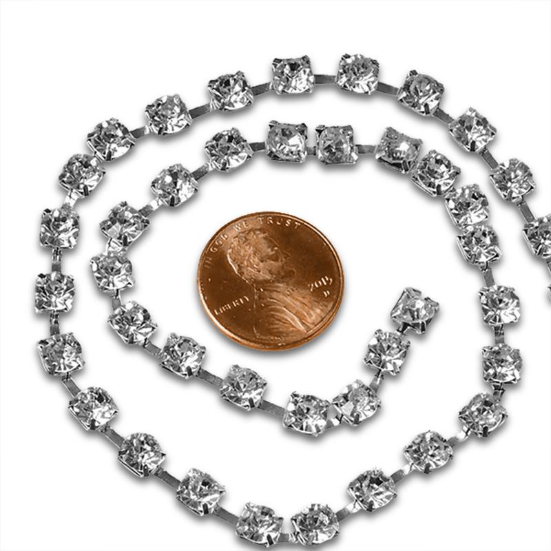 Metallic Jewel 5mm X 5yd Silver Rhinestone Chain by Ribbons.com