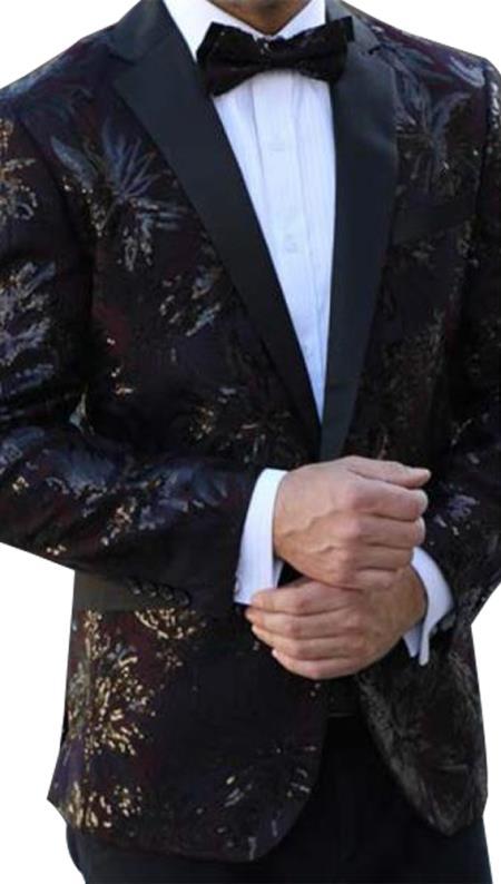 Mens Floral Designed Black Notch Lapel Burgundy~Black tuxedo jacket