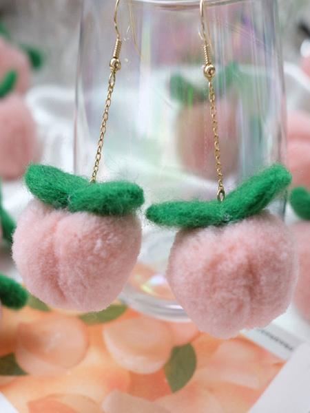Milanoo Pendientes de lolita dulce Pompones Pendiente de rosa Mezcla de algodon y poliester Joyas de lolita