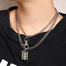 2pcs Handcuff Square Pendant Necklace