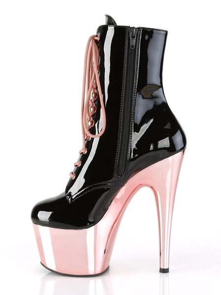 Milanoo Sexy High Heel Boots Round Toe Lace Up Zipper Stiletto Heel Rave Club Black Ankle Sexy Boots