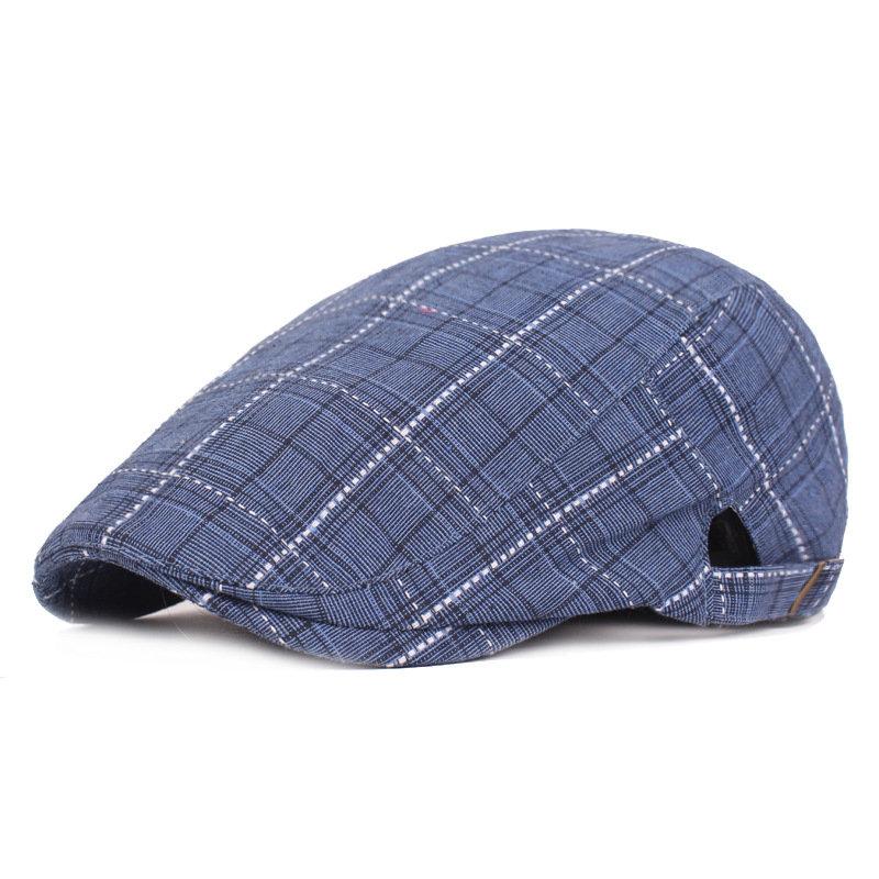 Beret Plaid Retro Hat Adjustable Cotton Beret Newsboy Cap