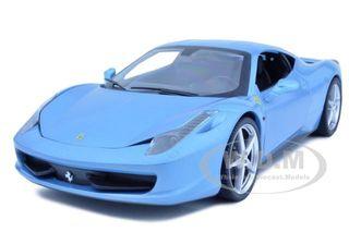 2011 Ferrari 458 Italia Blue 1/18 Diecast Car Model by Hotwheels