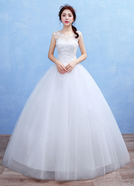 Milanoo Tulle Wedding Dress 3D Flowers Applique Maxi Bridal Gown Illusion Sweetheart Sleeveless Beading Sequins Floor Length Ball Gown Bridal Dress
